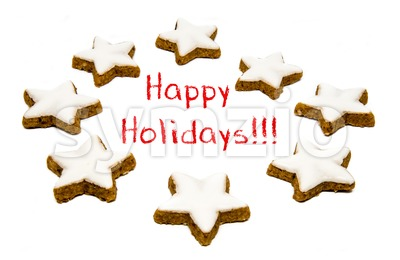 Holiday greetings - cookies and text Stock Photo