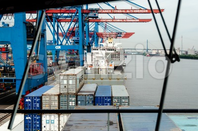 View from arge container ship at the Container Terminal Altenwerder in Hamburg Stock Photo