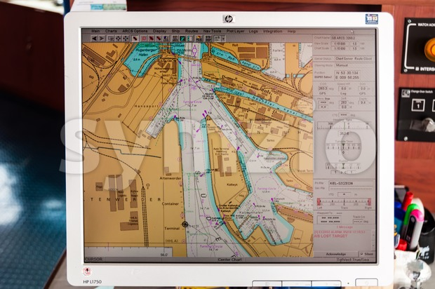 Hamburg, Germany - May 10, 2011: Navigation map on the computer of a large container ship in Hamburgn harbor, Germany, ...