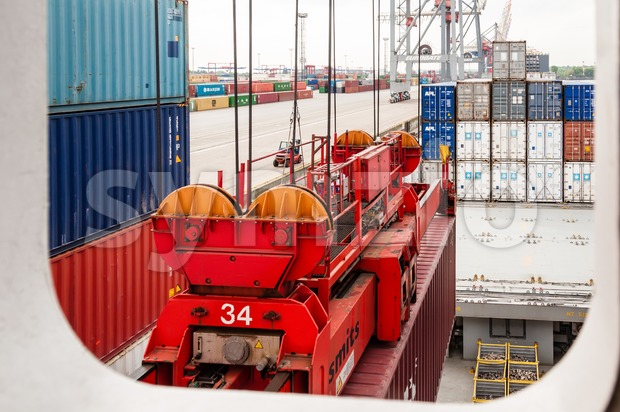 View from container ship at the Container Terminal Buchardkai in Hamburg Stock Photo