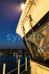 On board of a large container ship at night Stock Photo