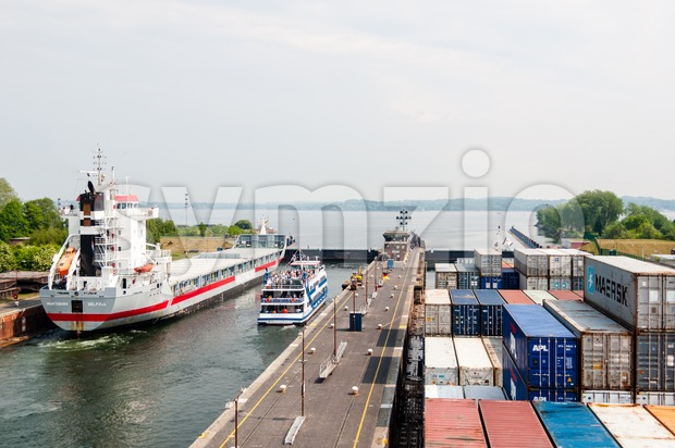 Approaching Kiel Canal, Germany Stock Photo