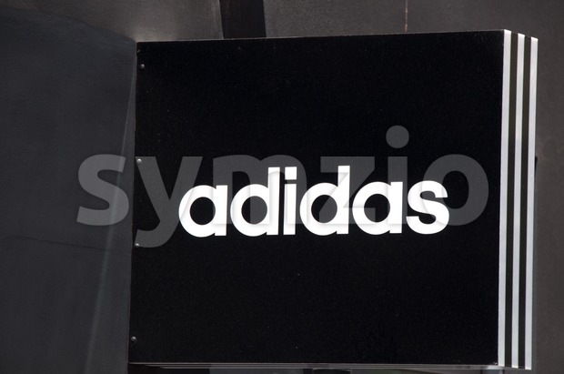 Adidas sign on store Stock Photo