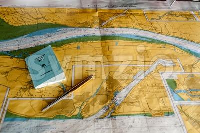 Navigation through Kiel Canal, Germany Stock Photo