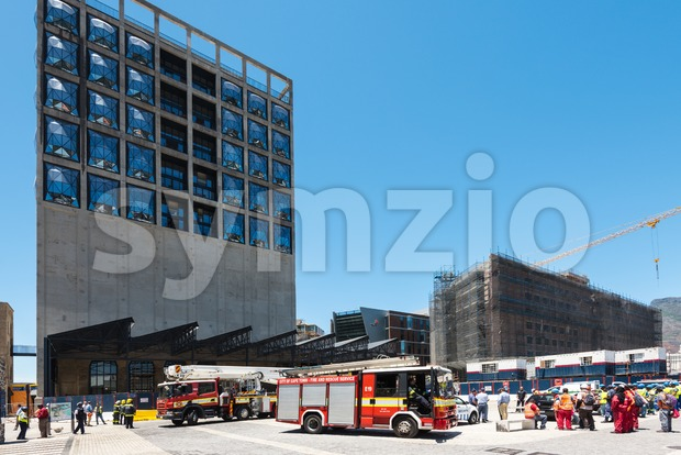 Fire department on construction site of the new Zeitz Museum of Contemporary Art of Africa in Cape Town Stock Photo