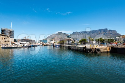 Famous V&A waterfront of Cape Town with table mountain background Stock Photo