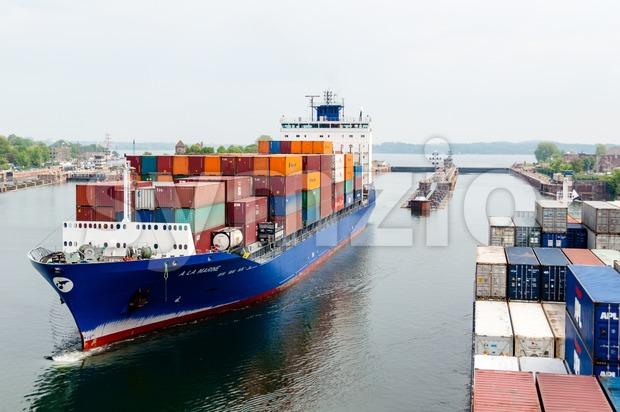 Approaching Kiel Canal, Germany Stock Photo