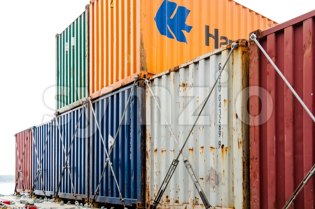 Nord-Ostsee-Kanal (Kiel Canal), Germany - May 11, 2011: View on colorful containers on a large container ship while travelling through ...