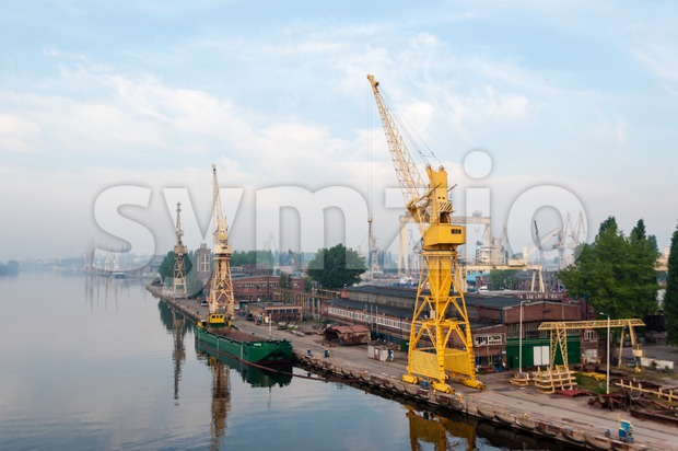 Szczecin, Poland - May 12, 2011: Overall view on the quay in the port of Szczecin - Stettin - in ...