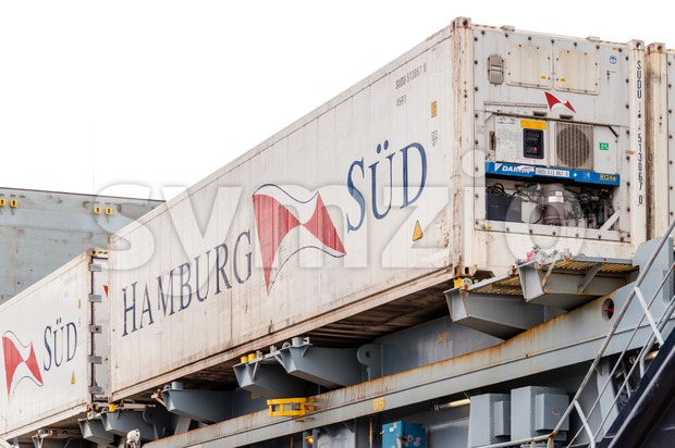 Hamburg Sud container Stock Photo