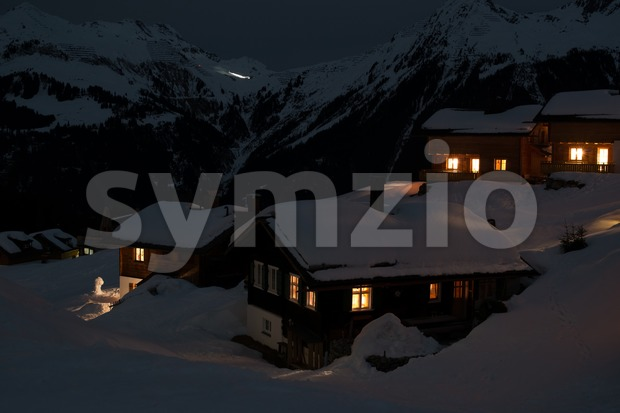 Ski village at night Stock Photo