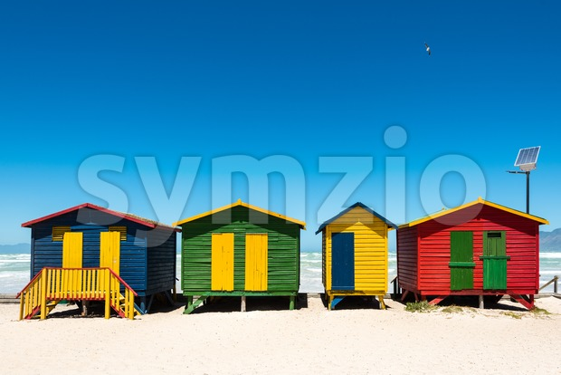 Hightech beach huts Stock Photo