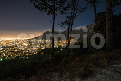Cape Town city and Table Mountain at night Stock Photo