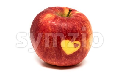 Love vitamins - apple with hearts Stock Photo