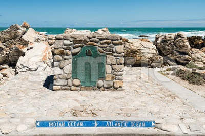 Cape Agulhas, the southernmost tip of Africa where Atlantic and Indian Oceans meet Stock Photo