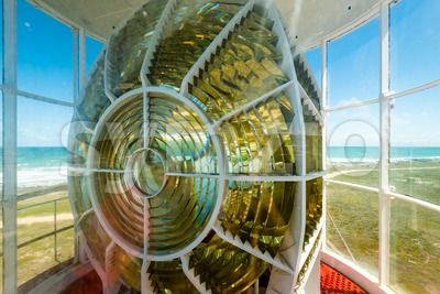 Light of the Cape Agulhas lighthouse in South Africa Stock Photo