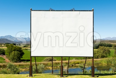 Big blank billboard in nice scenery Stock Photo