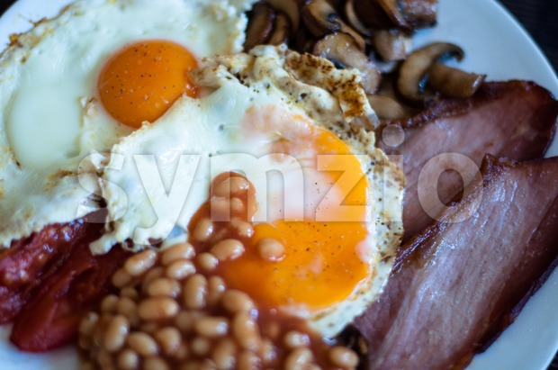 Traditional English breakfast with baked beens Stock Photo