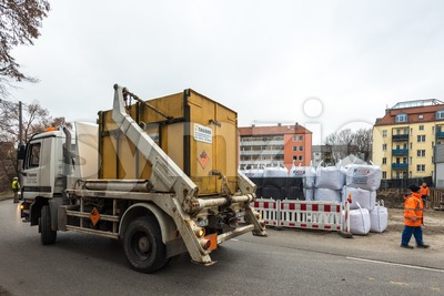 Disposal of a WW2 bomb in Augsburg, Germany Stock Photo