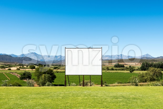 Panoramic view of big blank billboard in nice scenery Stock Photo