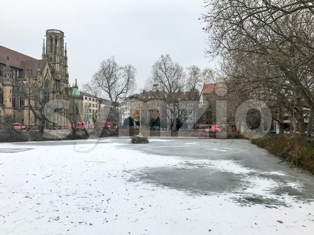 Exercise of rescuing a man breaking into frozen lake in winter Stock Photo
