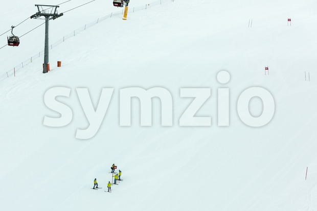 Preparation of a skiing slalom course Stock Photo