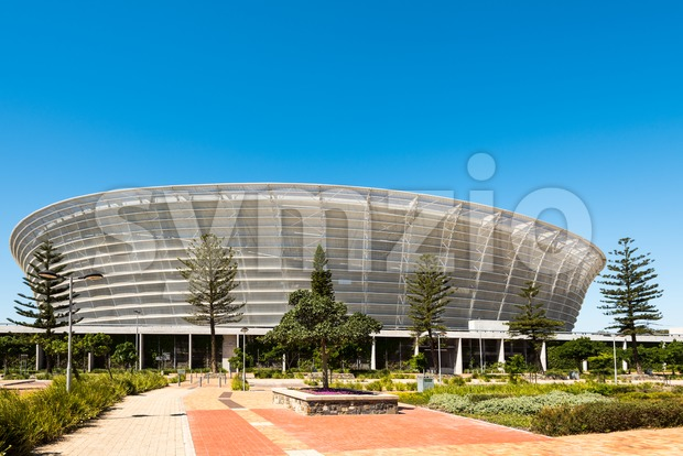 Front view of Cape Town Stadium at Green Point - the stadium hosts almost seventy thousand people and was used ...