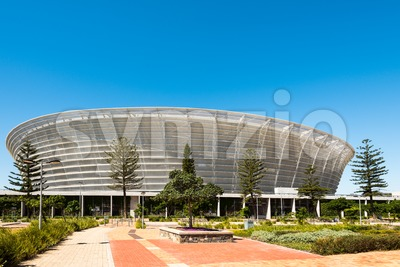 Front view of Cape Town Stadium at Green Point Stock Photo