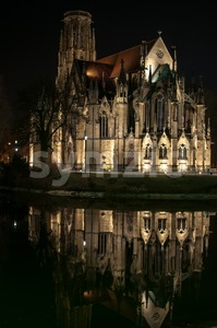 Johanneskirche Stuttgart Feuersee at night Stock Photo