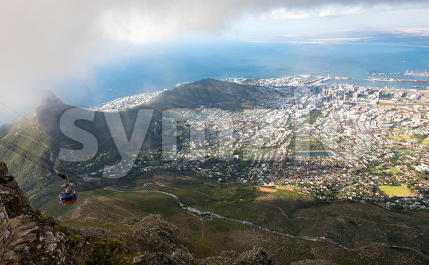 Aerial view on Signal Hill and downtown area of Cape Town, South Africa, as seen from Table Mountain with cableway ...