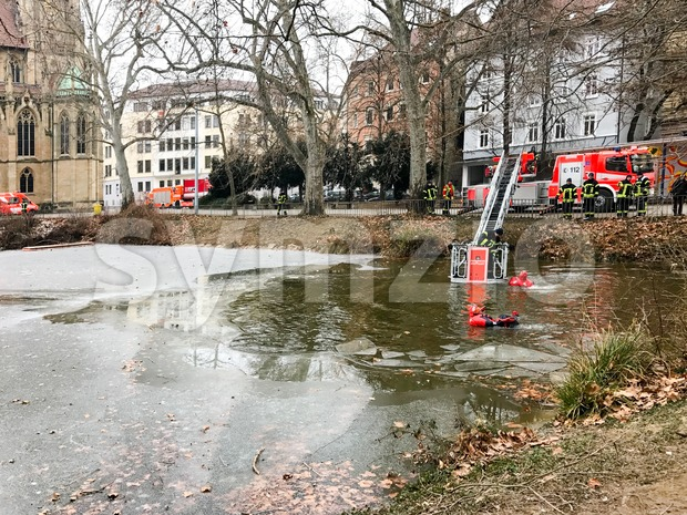 Stuttgart, Germany - January 25, 2017: The fire brigade of Stuttgart is conducting an exercise of rescue of a man ...