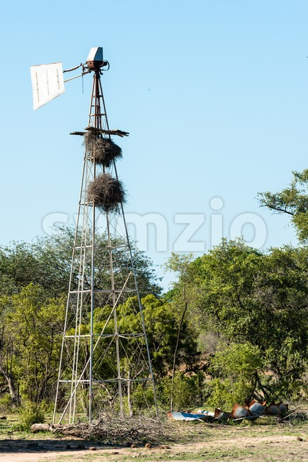 A desolate, broken windmill Stock Photo