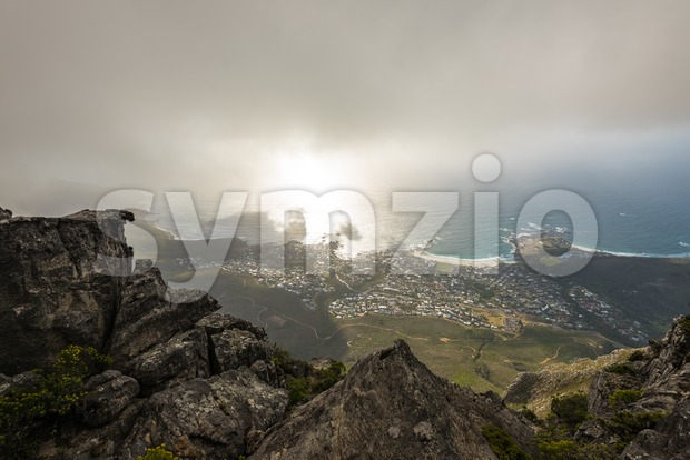 Aerial view on Camps Bay area of Cape Town, South Africa, as seen from Table Mountain on a late afternoon ...