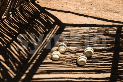 Ostrich eggs in a farm Stock Photo