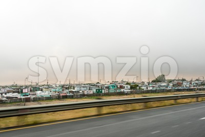 Passing Khayelitsha Township Shacks Stock Photo