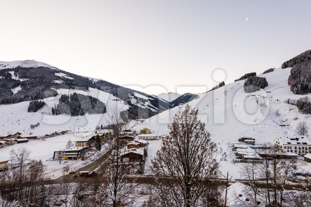 Morning in the ski area Saalbach-Hinterglemm in Austria Stock Photo