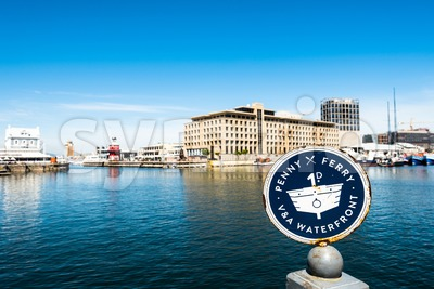 Penny Ferry stop at the V and A Waterfront in Cape Town, South Africa Stock Photo