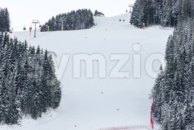 Alpine ski racing course with red slalom markers on prepared slope surrounded by trees with skilift and skiing hut in ...