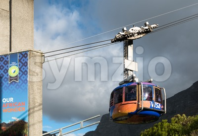 Table Mountain view with cable car in Cape Town, South Africa Stock Photo