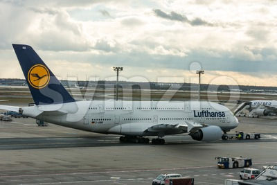 Airbus A380-800 Munich of Lufthansa on the runway in the Frankfurt airport Stock Photo