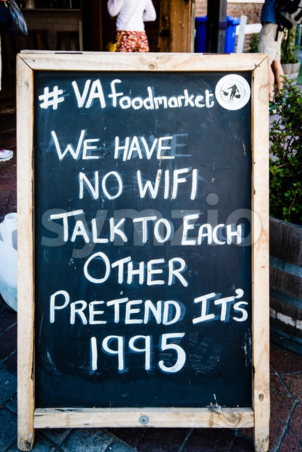 Board announcing No WiFi in front of VA foordmarket in Cape Town Stock Photo