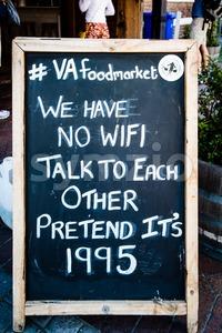 Board announcing No WiFi in front of VA foordmarket in Cape Town Stock Photo
