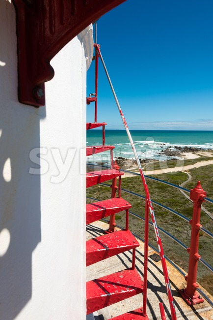 Detail of the lighthouse of Cape Agulhas (South Africa): The southernmost point of Africa.