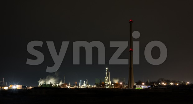 Chemical refinery at night Stock Photo