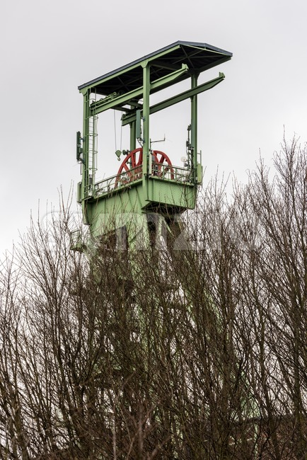 The headframe of Mine Georg in Willroth, Germany Stock Photo