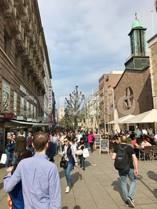 The pedestrian area of Stuttgart on a busy Saturday afternoon Stock Photo