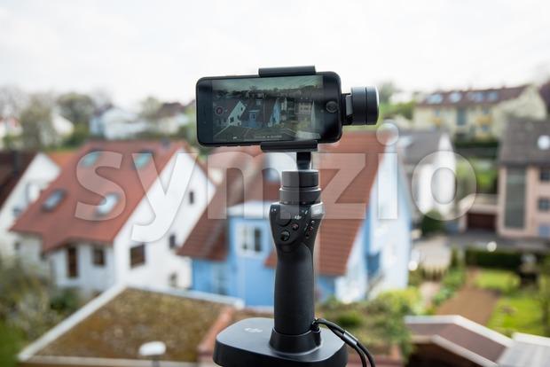Smartphone video panorama setup Stock Photo