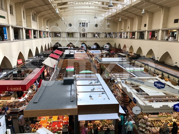 Stuttgart, Germany - April 1, 2017: Interior view of Market Hall in Stuttgart, Germany celebrating its 100th birthday in 2017.
