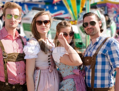 Group of happy friends celebrating Oktoberfest Stock Photo
