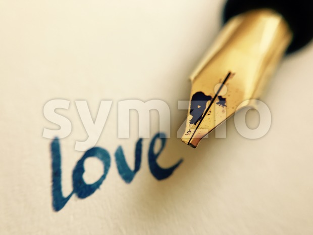 love message with pen Stock Photo